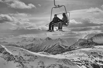 Photograph - Friends In The Sunshine Village Skies Black And White by Adam Jewell