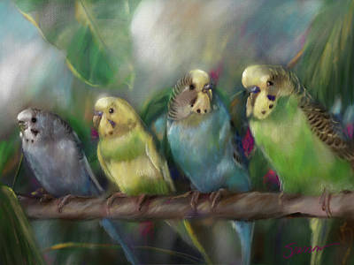 Parakeet Wall Art - Painting - Friends by Mary Sparrow