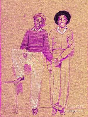 Tennessee Drawing - Friends, Memphis 1942 In Purple by Jayne Somogy