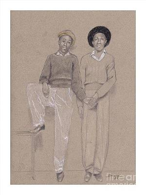 Tennessee Drawing - Friends, Memphis 1942 -- The Original -- Retro Portrait Of 2 African-american Teenagers by Jayne Somogy