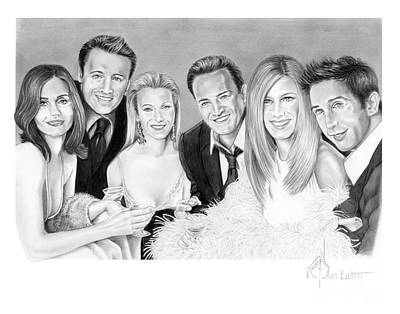 Famous People Drawing - Friends Cast by Murphy Elliott