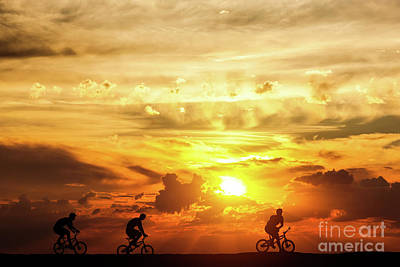 Photograph - Friends On A Bike Trip At Sunset. Active Lifestyle, Cycling Hobby. by Michal Bednarek