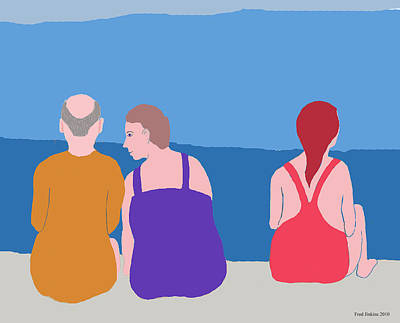 Friends On Beach Art Print