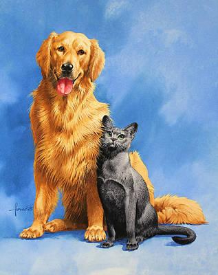 Friends On Blue Art Print by John Francis