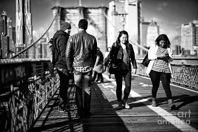 Photograph - Friends On The Brooklyn Bridge by John Rizzuto