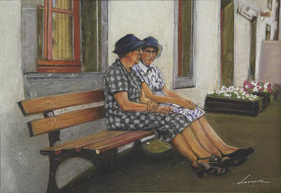 Friends Seated In Bench Print by Leonor Thornton