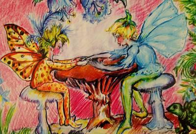 Fairys Painting -  Fairy Friends by Susan Brown    Slizys art signature name