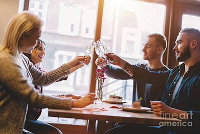 Photograph - Friends Toasting In A Restaurant, Celebrating. by Michal Bednarek