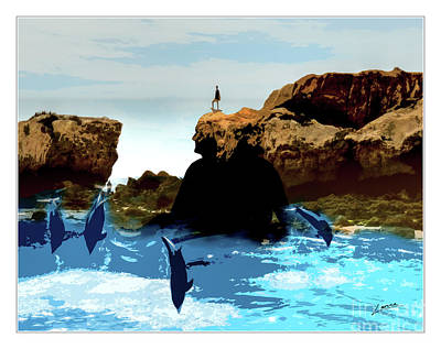 Digital Art - Friends With Dolphins In Colour by Lance Sheridan-Peel
