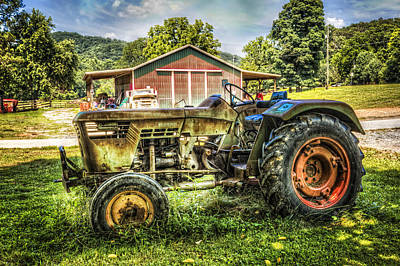 Abandoned Cabins Smoky Mountains Wall Art - Photograph - Friends With Tractors by Debra and Dave Vanderlaan
