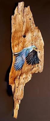 Painting - Friendship Bluebird    24 by Cheryl Nancy Ann Gordon