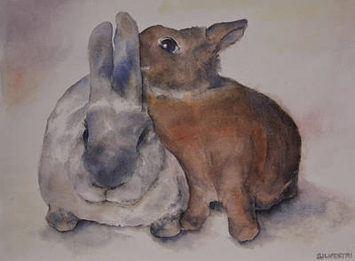 Watercolor Pet Portraits Painting - Two Bunny Rabbits by Teresa Silvestri