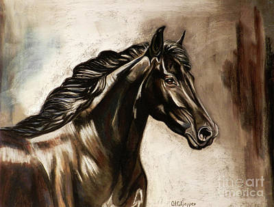 Black Friesian Pastel - Friesian  by Cat Culpepper
