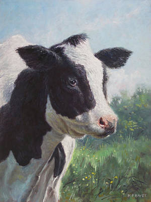 Painting - Friesian Cow Portrait by Martin Davey
