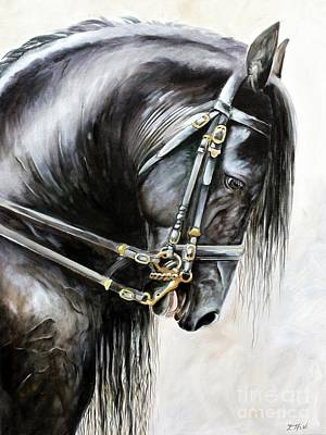 Painting - Friesian by Debbie Hart