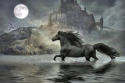 Digital Art - Friesian Fantasy Revisited by Fran J Scott