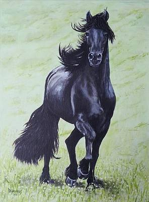 Painting - Friesian Horse by David Hawkes