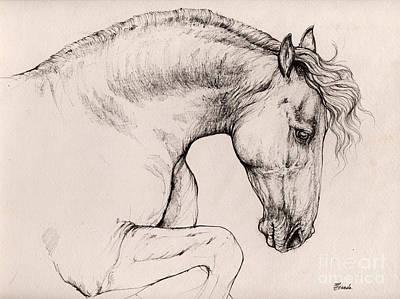 Horse Drawing - Friesian Horse Drawing 2015 12 10 by Angel Tarantella