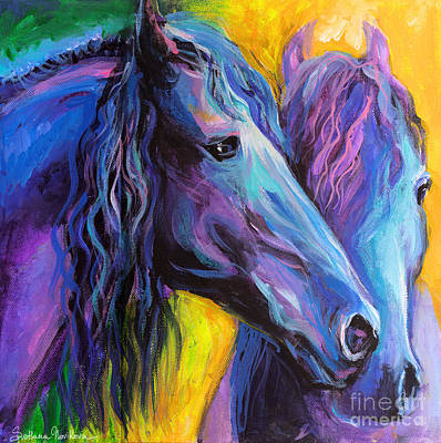 Horse Drawings Painting - Friesian Horses Painting by Svetlana Novikova