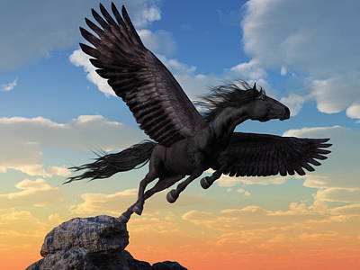 Digital Art - Friesian Pegasus by Daniel Eskridge