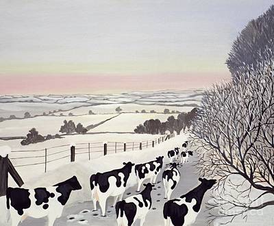 Wintry Painting - Friesians In Winter by Maggie Rowe
