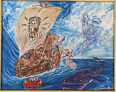 Painting - Friggin In The Riggin - Kon Tiki Expedition by Jonathan Morrill