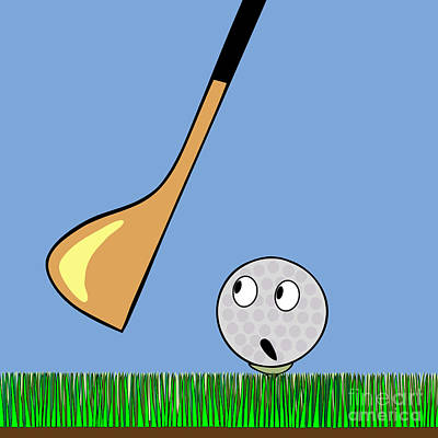 Frightened Golf Ball Art Print