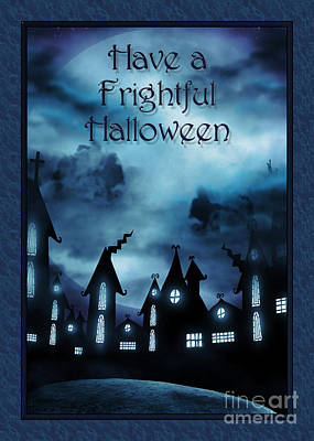 Digital Art - Frightful Halloween Night by JH Designs