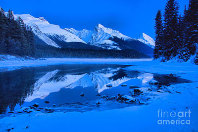 Photograph - Frigid Winter Evening At Maligne Lake by Adam Jewell