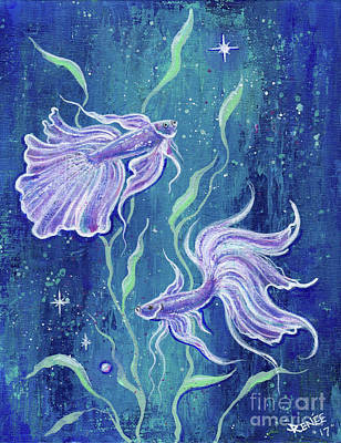 Siamese Fighting Fish Painting - Frilly Betta Fish by Renee Lavoie