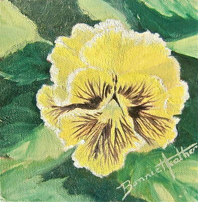 Art Print featuring the painting Frilly Yellow Pansy by Bonnie Heather