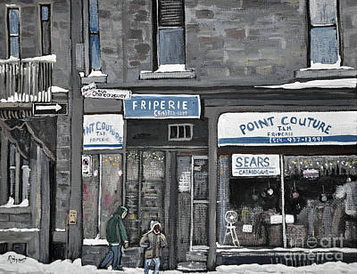 Streets Of Quebec Painting - Friperie Point Couture Pte St. Charles by Reb Frost