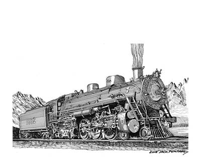 Drawing - Steam Driven Locomotive by Jack Pumphrey