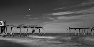 Photograph - Frisco Fishing Pier And Moon In Black And White Panorama by Ranjay Mitra
