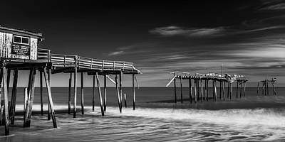 Photograph - Frisco Fishing Pier In Black And White Panorama by Ranjay Mitra