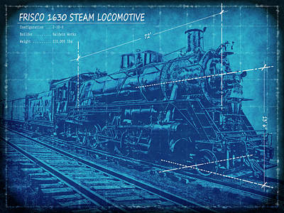 Boiler Digital Art - Frisco Locomotive 1630 Blueprint 2 by Daniel Hagerman