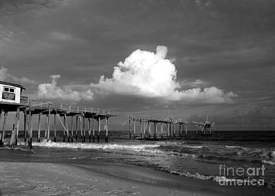 Photograph - Frisco Pier 2015 B And W  by Jean Wright
