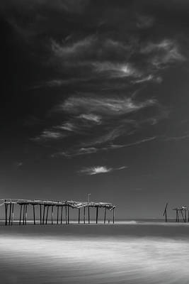 Photograph - Frisco Pier In North Carolina And Clouds In Black And White by Ranjay Mitra