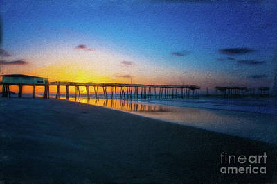 Digital Art - Frisco Pier Sunrise Outer Banks North Carolina Ap by Dan Carmichael