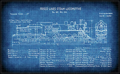 Boiler Digital Art - Frisco Steam Locomotive Blueprint by Daniel Hagerman