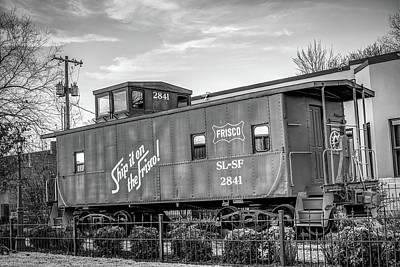 Photograph - Frisco Train Boxcar - Downtown Bentonville Arkansas Black And White by Gregory Ballos