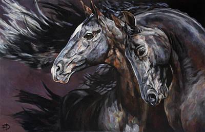 Painting - Frisian Horses by Jana Fox