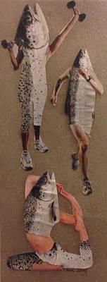 Jogging Mixed Media - Frisk Som Ein Fisk by Marte Kjoerstad