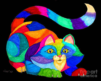 Animals Drawings - Frisky Cat by Nick Gustafson