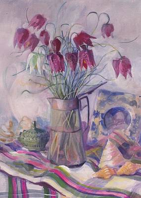 Meleagris Painting - Fritillaries by Sue Wales