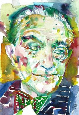 Painting - Fritz Lang - Watercolor Portrait.1 by Fabrizio Cassetta
