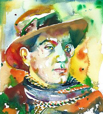 Painting - Fritz Lang - Watercolor Portrait.2 by Fabrizio Cassetta