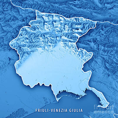 Cartography Digital Art - Friuli-venezia Giulia State Italy 3d Render Topographic Map Blue by Frank Ramspott