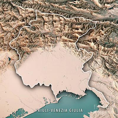 Europe Digital Art - Friuli-venezia Giulia State Italy 3d Render Topographic Map Neut by Frank Ramspott