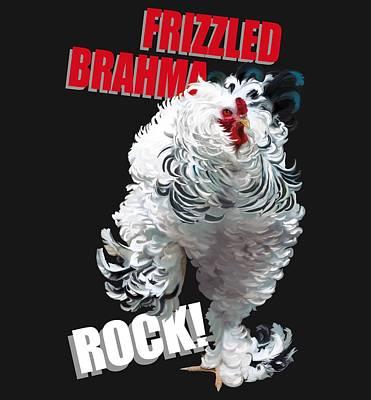 Fowl Wall Art - Digital Art - Frizzled Brahma T-shirt Print by Sigrid Van Dort